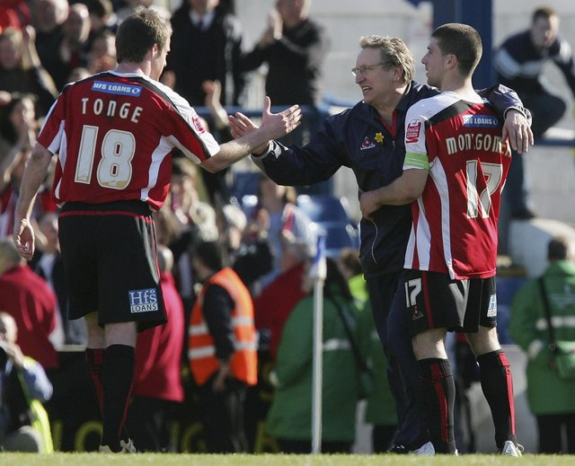 Michael Tongue (left) with former Blades boss Neil Warnock (centre) and fellow youth academy graduate Nick Montgomery in his Sheffield United days.