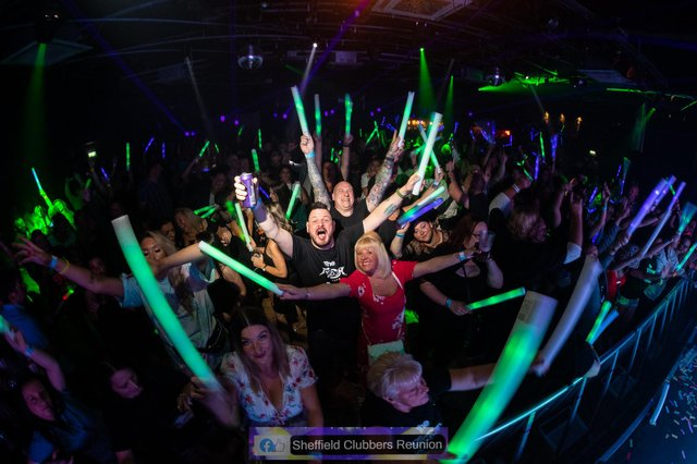 Sheffield Clubbers Reunion fans having a great time on the dancefloor at the Leadmill