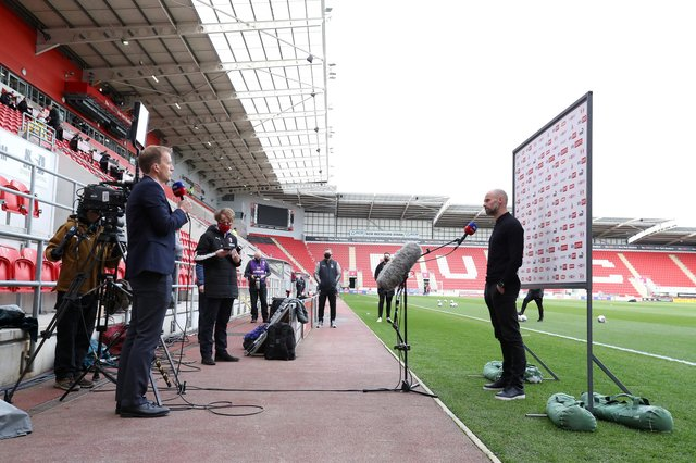 Paul Warne, Manager of Rotherham United is interviewed by Sky Sports prior to the Sky Bet Championship match between Rotherham United and Coventry City. (Photo by George Wood/Getty Images)