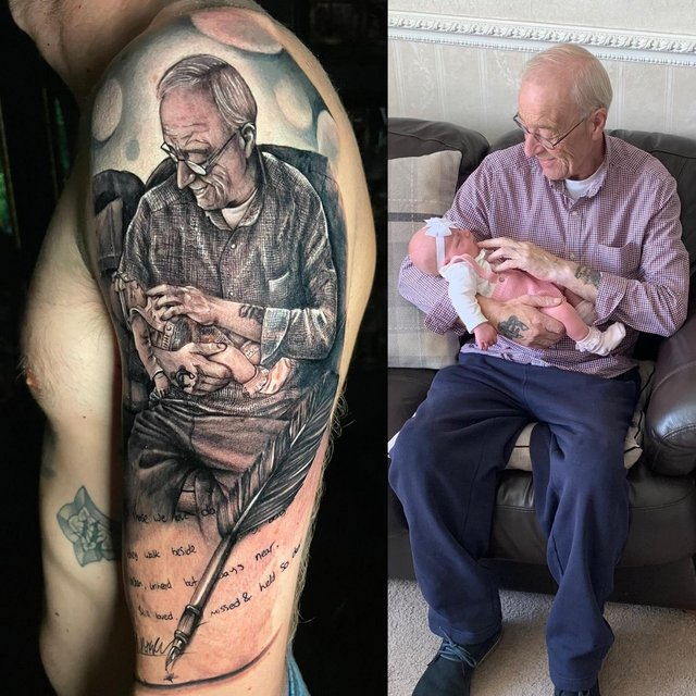 Macualey Harper's tattoo and the photo of his grandfather John meeting baby Elsie (pic: Redemption Tattoo Studio)