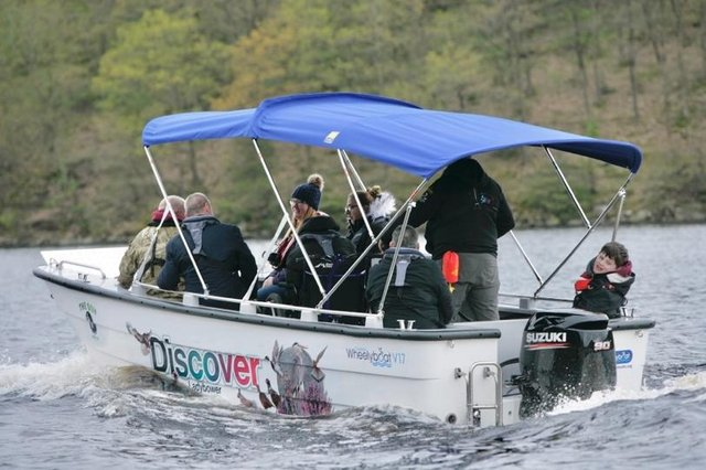 The new Coulam V17 Wheelyboat out on the water at Ladybower Reservoir in Derbyshire. Credit Steve Bullock.