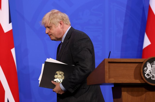 Prime Minister Boris Johnson leaves after a media briefing in Downing Street, London, on coronavirus (Covid-19). Picture date: Monday June 14, 2021.
