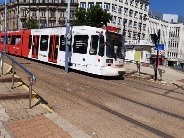A tram in Sheffield city centre today