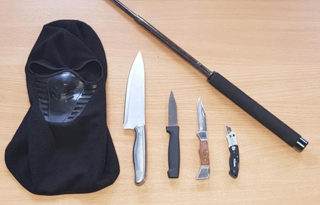 The mask and weapons which were found inside a car in Burngreave, Sheffield