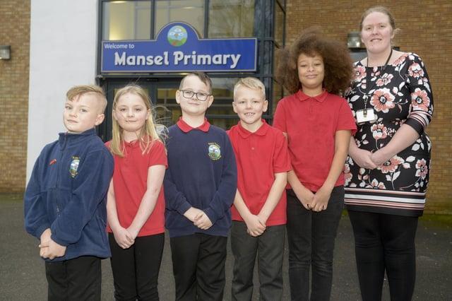 Mansel Primary School headteacher Emily Matthews with pupils