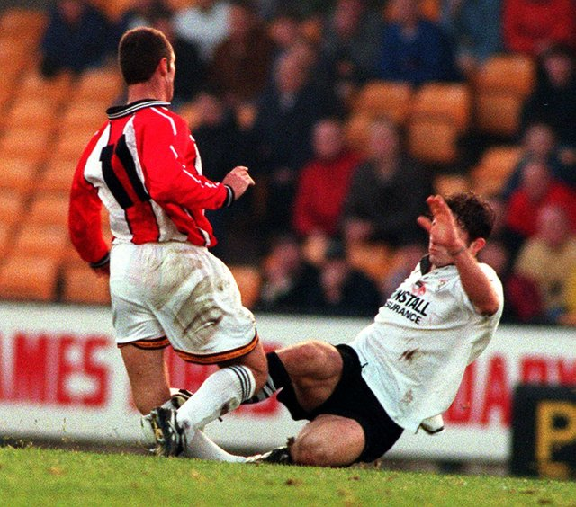 The tackle from Gareth Ainsworth that ended Dane Whitehouse's football career. Pic: Steve Parkin