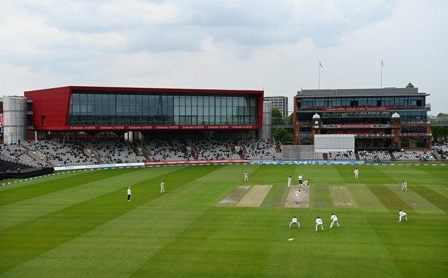 MANCHESTER, ENGLAND - MAY 28: General view of play during the LV= Insurance County Championship match between Lancashire and Yorkshire at Emirates Old Trafford on May 28, 2021 in Manchester, England. (Photo by Gareth Copley/Getty Images).