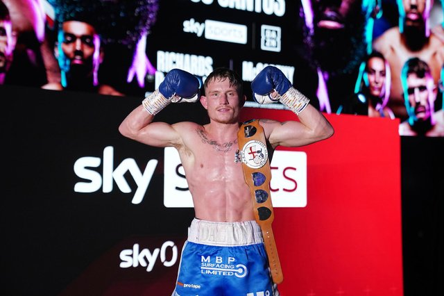 Dalton Smith celebrates with his English Super-Lightweight Title belt after his win over Lee Appleyard. Picture By Dave Thompson Matchroom Boxing