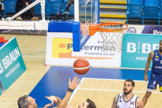 Mike Tuck gets a shot away against Leicester Riders.