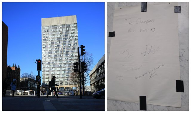 Sheffield's Arts Tower and a message left by student rent strike protesters who had been occupying the building