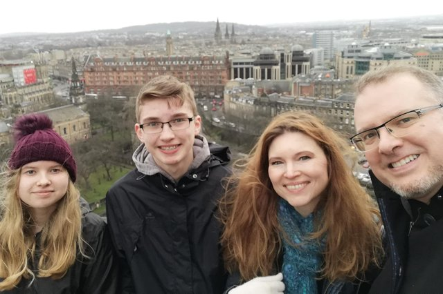 Jeannie McGinnis and her family on a trip to Edinburgh