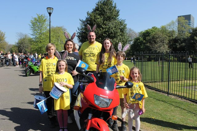 Organiser Michael Peat and his family at the 2019 Theo's Egg Run