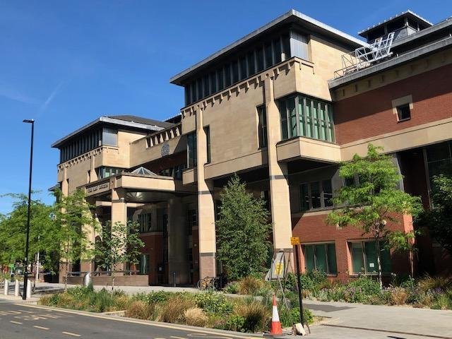 Sheffield Crown Court, pictured, heard how an intimidating customer has been jailed after he threatened a Sheffield garage repair man.