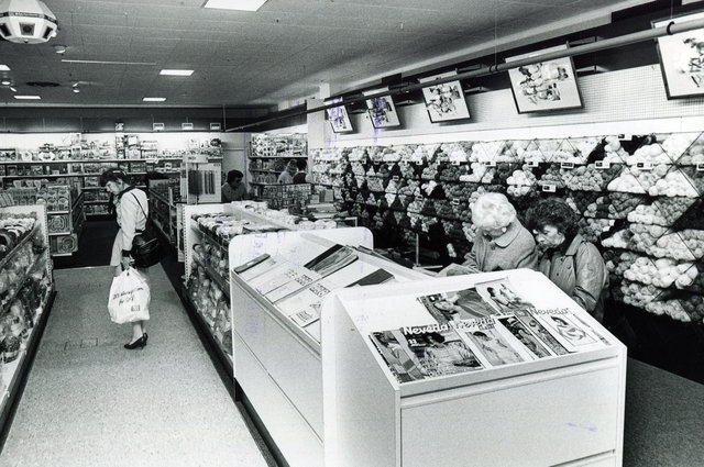 Browsing the knitting patterns in the Brightside & Carbrook Store, Castle House, Sheffield, in 1986