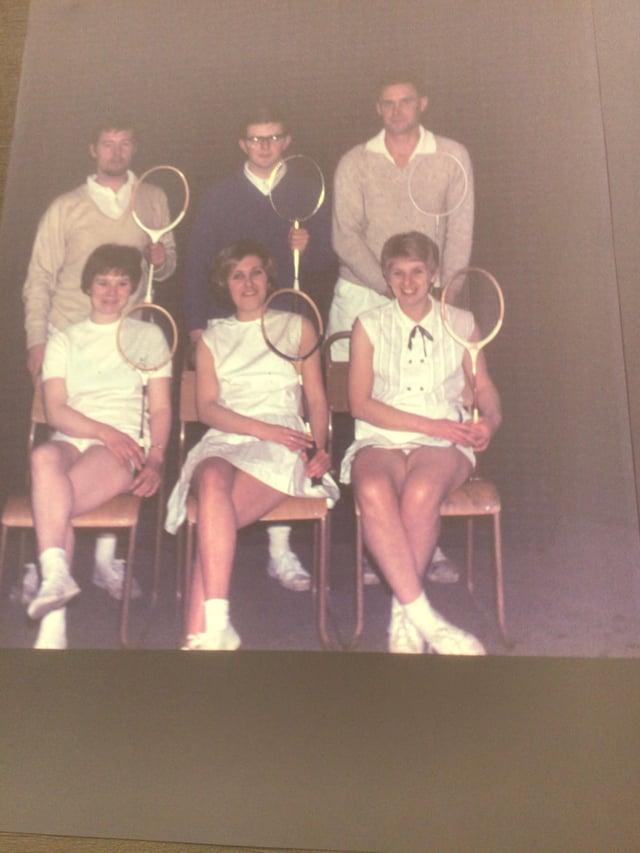 Bill, back left, in a mixed league badminton team