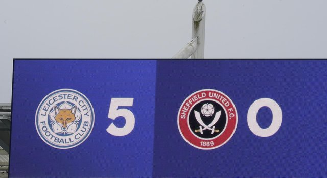 The scoreboard showing Leicester's  5-0 win during the Premier League match at the King Power Stadium, Leicester. Picture date: 14th March 2021. Picture credit should read: Andrew Yates/Sportimage