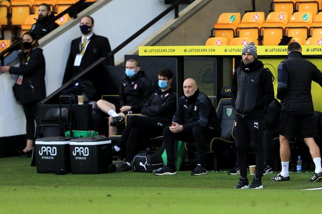 Rotherham United Manager Paul Warne during the Sky Bet Championship match between Norwich City and Rotherham United at Carrow Road (Photo by Stephen Pond/Getty Images)