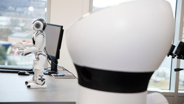 A robot at the Advanced Wellbeing Research Centre