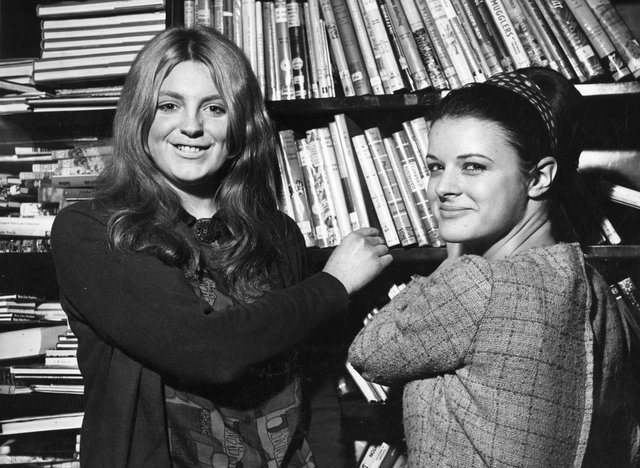 Sheffield City Libraries library assistants pictured in the stack, Central Library, Surrey Street. February 23, 1967. Ref no s31878