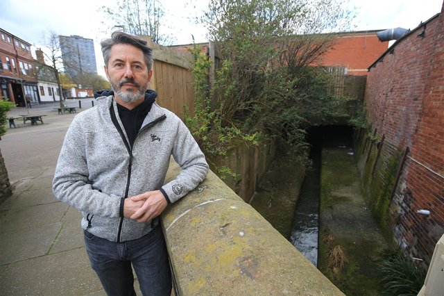 Alex Barlow from Sheaf and Porter Rivers Trust outside Waitrose in Sheffield City Centre. Picture: Chris Etchells