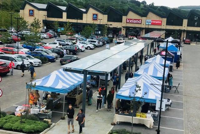 Outdoor market stalls at Fox Valley shopping centre in Stocksbridge