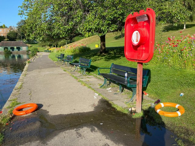 Lifebuoys that were used at Crookes Valley Park yesterday