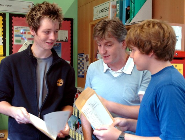 Wisewood School teacher Paddy Lyons with GCSE  students Josh Hutchinson and Richard Anderson in August 2007