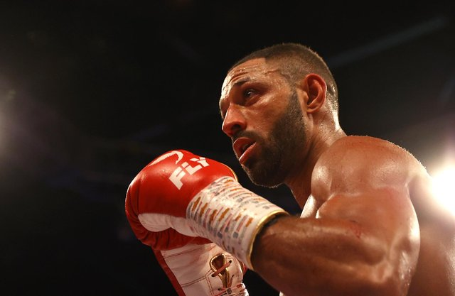 Kell Brook in action during the WBO Intercontiental Super-Welterweight Title Fight against Mark DeLuca.