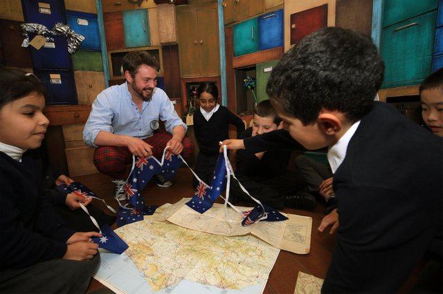 A creative writing workshop at Byron Wood Academy with Inspector Arty. Picture: Chris Etchells