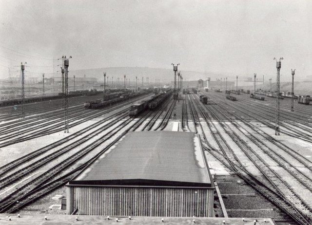 Tinsley Marshalling Yards circa 1965. It had 32 marshalling lanes.