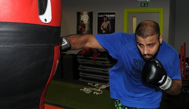 Kash Ali training at Ryan Rhodes' boxing gym.