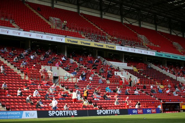 Crowd pilots, like the one at Charlton Athletic v Doncaster Rovers on Saturday, could be in jeopardy due to the rising number of coronavirus cases. Photo by James Chance/Getty Images
