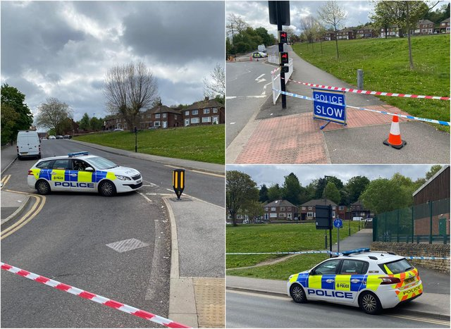 A huge police cordon is in place today in the Fir Vale area of Sheffield (Photo: Dan Hayes)