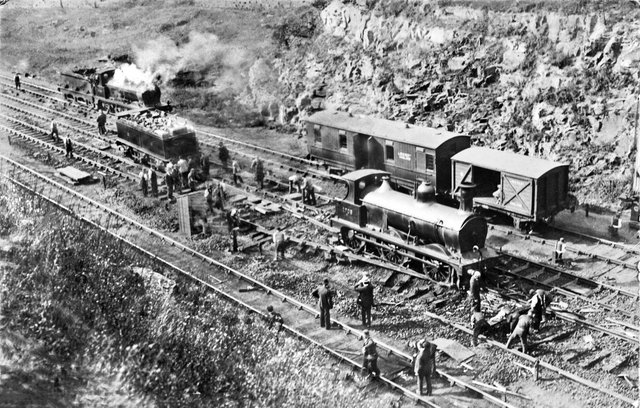 A photograph of a rail accident at Tapton Junction in 1919. Picture: Middleton Press.