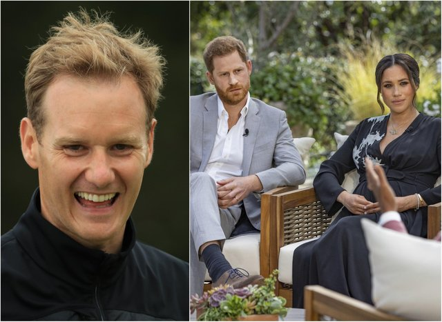 Dan Walker (Photo by Andrew Redington/Getty Images) and Harry and Meghan (Photo by Harpo Productions/Joe Pugliese via Getty Images)