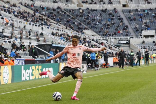 Daniel Jebbison of Sheffield United in action against Newcastle United: Darren Staples / Sportimage