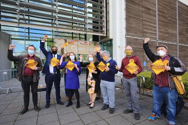 Sheffield City Council election count 2021. The Lib Dems celebrating. Picture: Chris Etchells