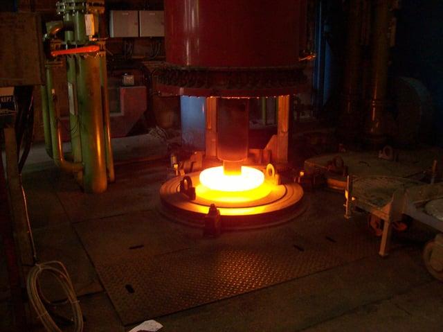 Ingot in the VAR furnace (Vacuum Arc Remelting) furnance at Liberty Speciality Steels Stocksbridge.