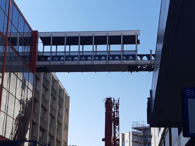 Demolition of the John Lewis footbridge in Sheffield begins