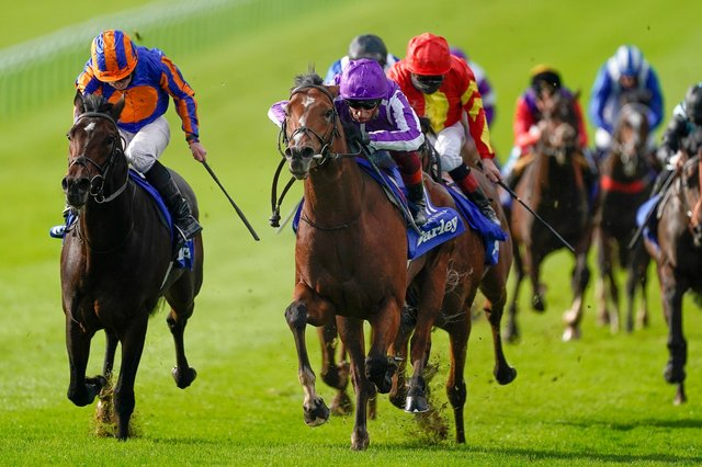 Thunder Blue (red and yellow colours) finishes third to the Aidan O'Brien duo, St Mark's Basilica (centre) and Wembley, in last season's Dewhurst Stakes at Newmarket. Can Joseph O'Brien's colt gain his revenge on Saturday? (PHOTO BY: Alan Crowhurst/Getty Images).