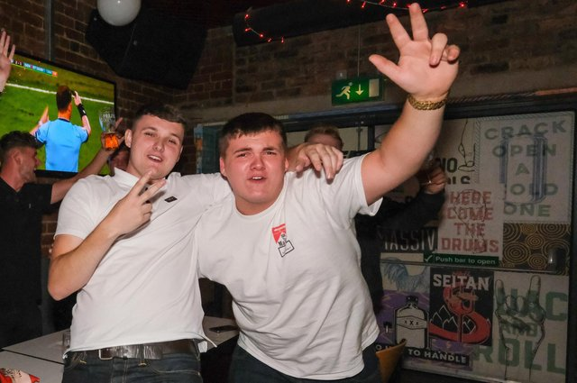 Fans at The Common Room in Sheffield celebrate England's Euro 2020 semi-final victory over Italy