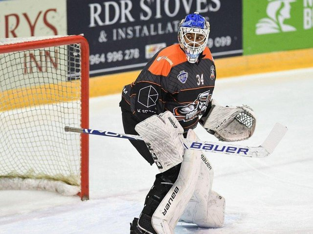 Curtis Warburton in Sheffield Steelers' goal - the teenage netminder is highly rated