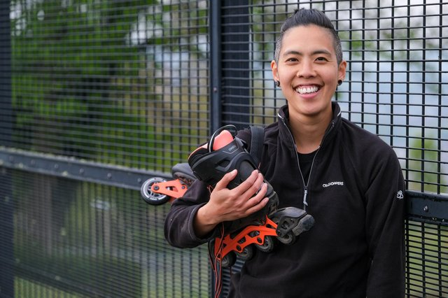 Frit Tam practices rollerblading in Bole Hill Park ahead of his challenge to raise LGBGT awareness.
