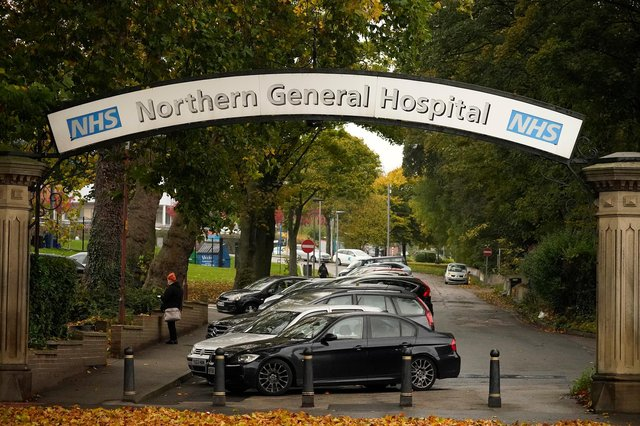 A general view of the entrance of the Northern General Hospital (Photo by Christopher Furlong/Getty Images)