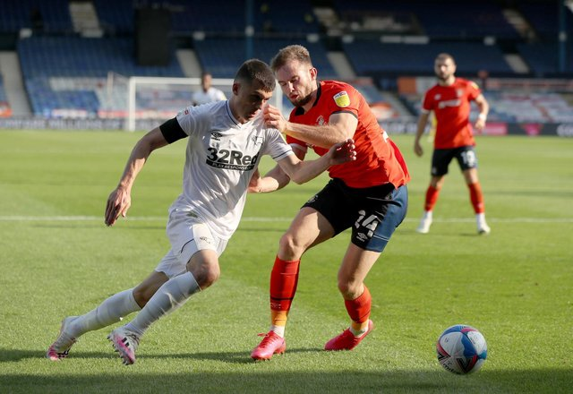 Rhys Norrington-Davies, in action during Luton Town's 2-1 win over Derby County at Kenilworth Road on Saturday, has made an impressive start to his season-long with the Hatters from Sheffield United. Photo: Bradley Collyer/PA Wire.