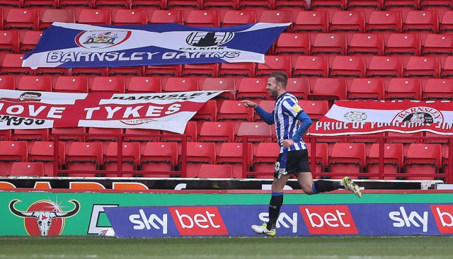 Sheffield Wednesday's Jordan Rhodes celebrates scoring their side's first goal of the game. (Danny Lawson/PA Wire)