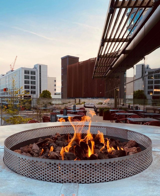 Terrace firepit at The Furnace