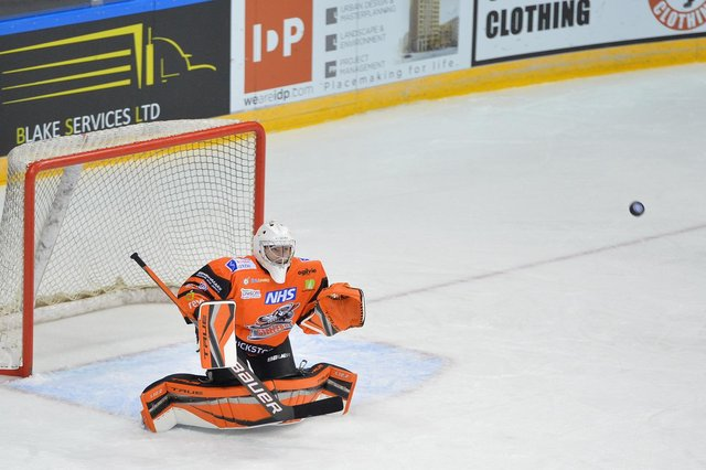 Ben Churchfield stepped in to cover John Muse after the regular goaltender came off injured against Nottingham Panthers on Saturday. Pic: Dean Woolley