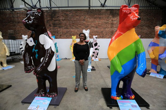 Cheryl Davidson, Bears of Sheffield project manager, with the bears on display just before they hit the city streets. Picture: Chris Etchells