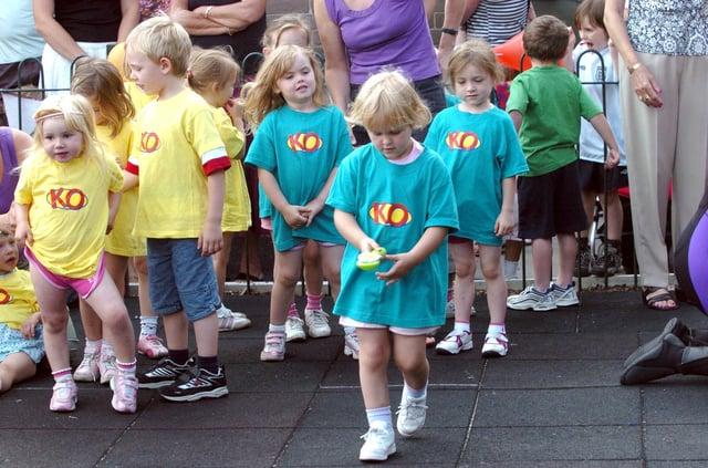 Children taking part in the Mount View pre school, Derbyshire Lane,  sports day, 14 July 2006
